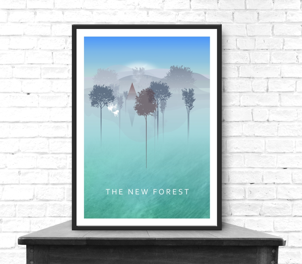 the-new-forest-one-in-a-collection-of-digitally-created-vibrant-and-engaging-art-posters-depicting-local-and-iconing-landscapes